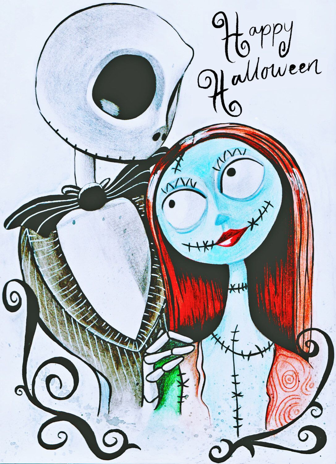 Tim Burtons Nightmare Before Christmas Jack and Sally A4 Watercolour ...