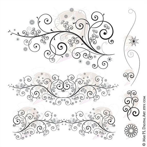 Swirl Clipart Flourish Floral Png Design To Create Fancy Etsy Fancy Wedding Invitations Symmetry Design Clip Art