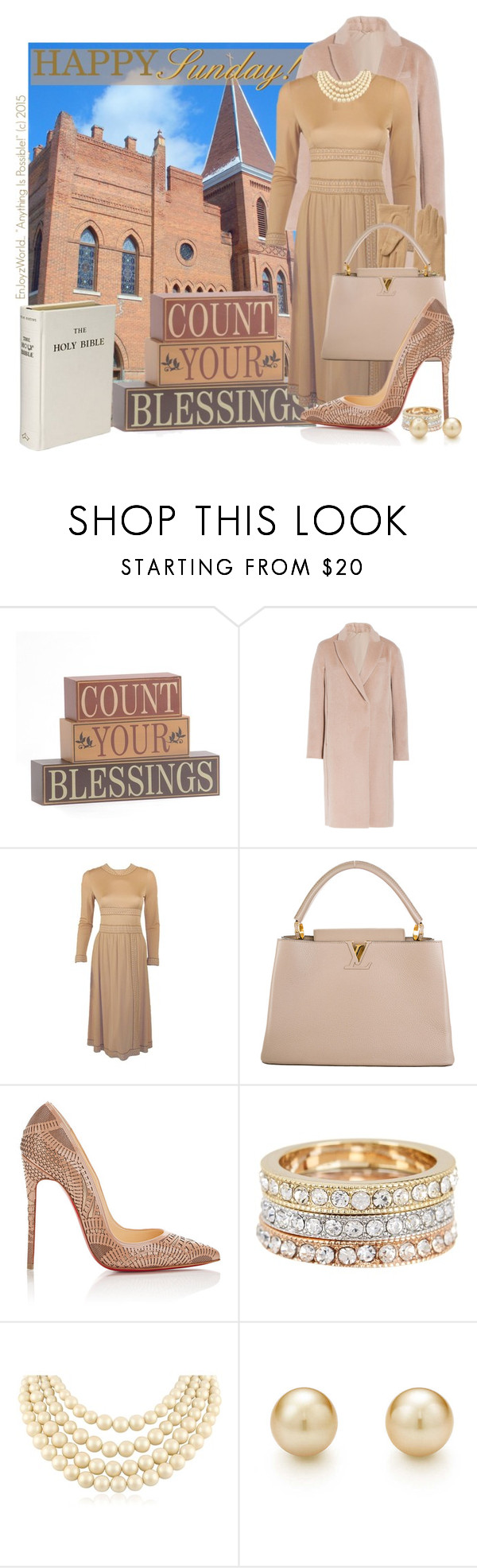 """HAPPY SUNDAY!!!: ""Count Your Blessings!"""" by enjoyzworld ❤ liked on Polyvore featuring DEPT, Brunello Cucinelli, Averardo Bessi, Echo, Louis Vuitton, Christian Louboutin, Ariella Collection, Carolee, Tiffany & Co. and neutrals"