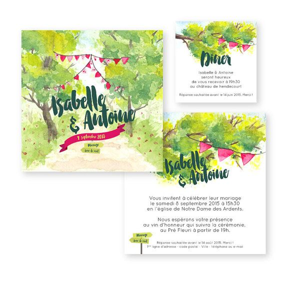 Wedding invitation – Watercolour – pennants – marriage Champetre – campaign – PDF to print yourself