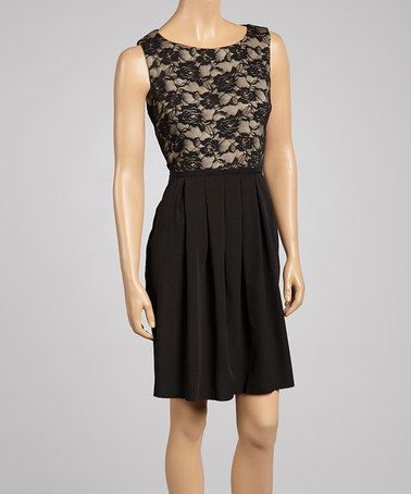 Another great find on #zulily! Black & Nude Floral Lace Sleeveless Dress #zulilyfinds