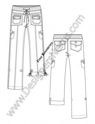 015- illustrator fashion flat sketch rib knit drawstring