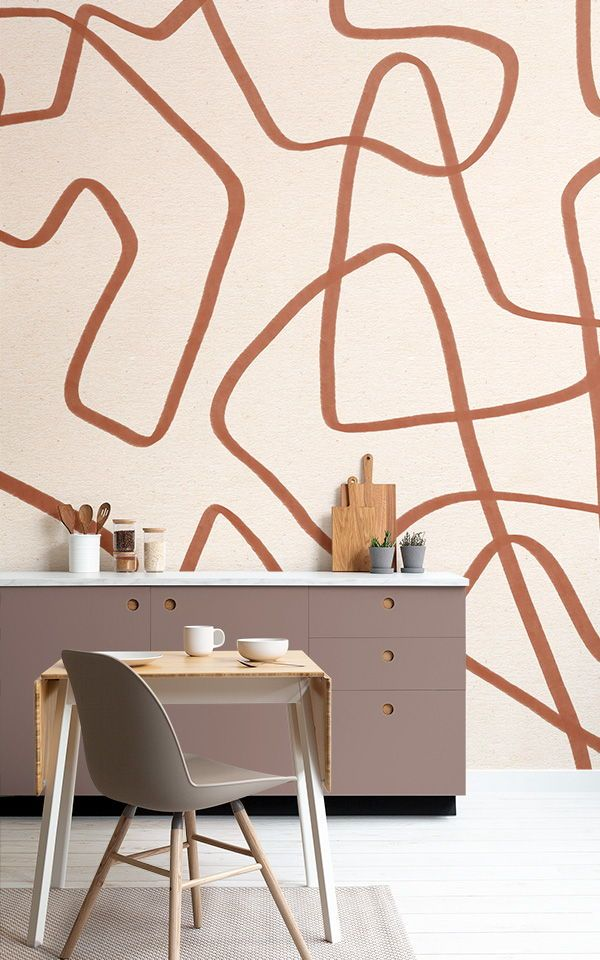 Terracotta Cool Doodle Wallpaper Abstract Style Muralswallpaper In 2020 Mural Wallpaper Feature Wall Wallpaper Kitchen Wallpaper Murals