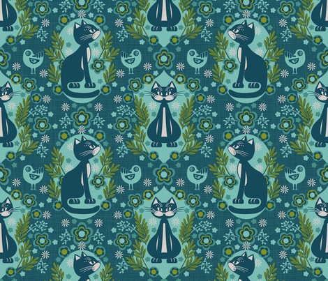cat damask blue fabric by cjldesigns on Spoonflower - custom fabric
