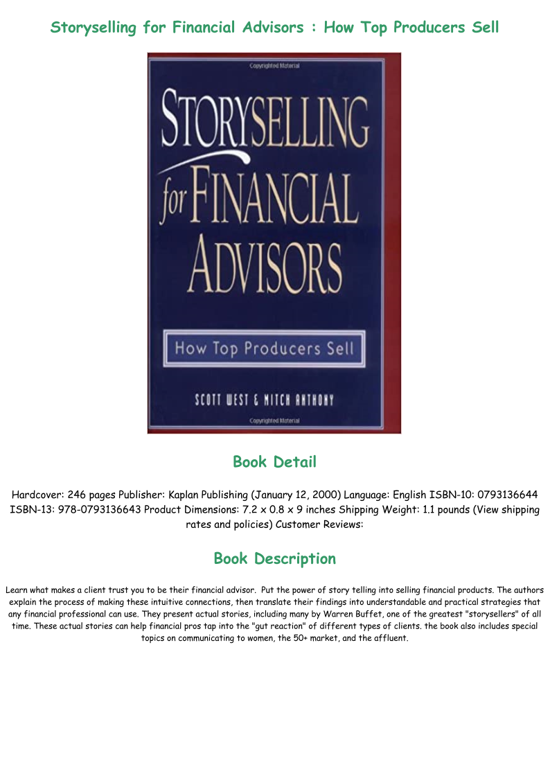 Read Book Storyselling For Financial Advisors How Top Producers Sell Full Pdf Online Financial Advisors How To Memorize Things Best Way To Study