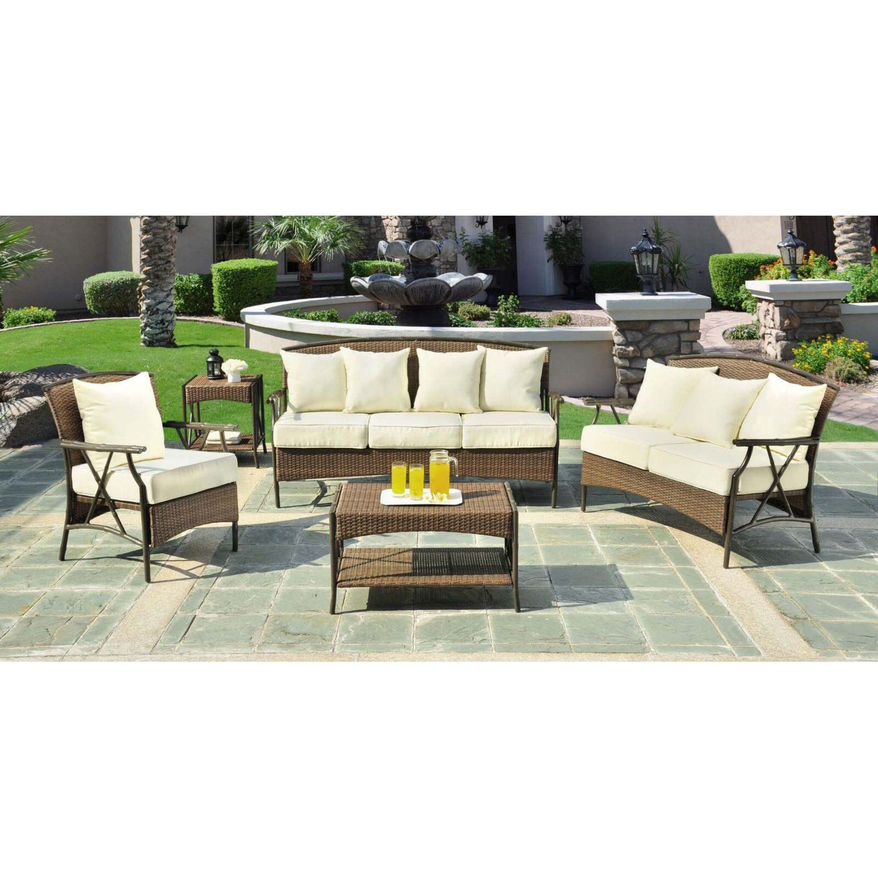 Outdoor Panama Jack Rum Cay 5 Piece Wicker Patio Conversation Set