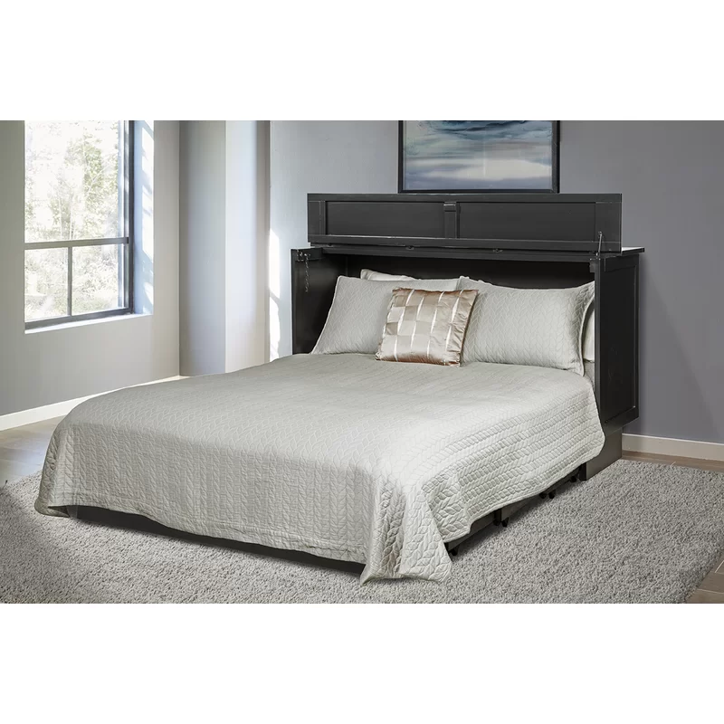 Kim Queen Low Profile Storage Murphy Bed with Mattress in