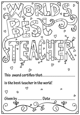 World's Best Teacher Diploma coloring page School