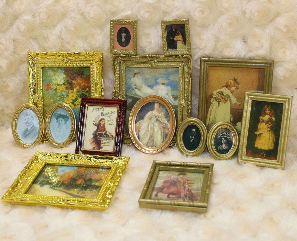 Lot Dollhouse Miniature Art Picture Photo Painting Frame Home Decor Scale