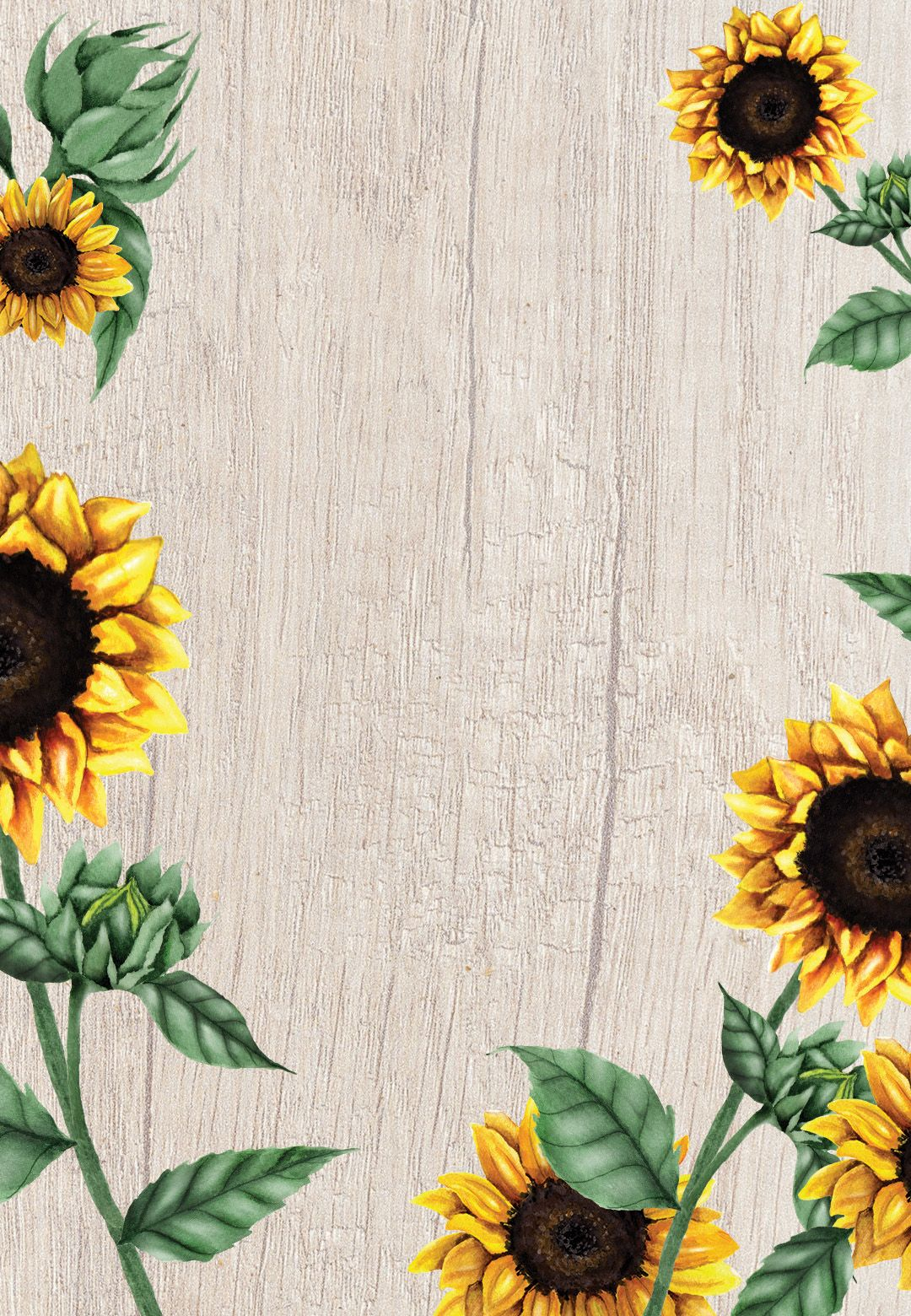 Sunflowers and wood Bridal Shower Invitation Template