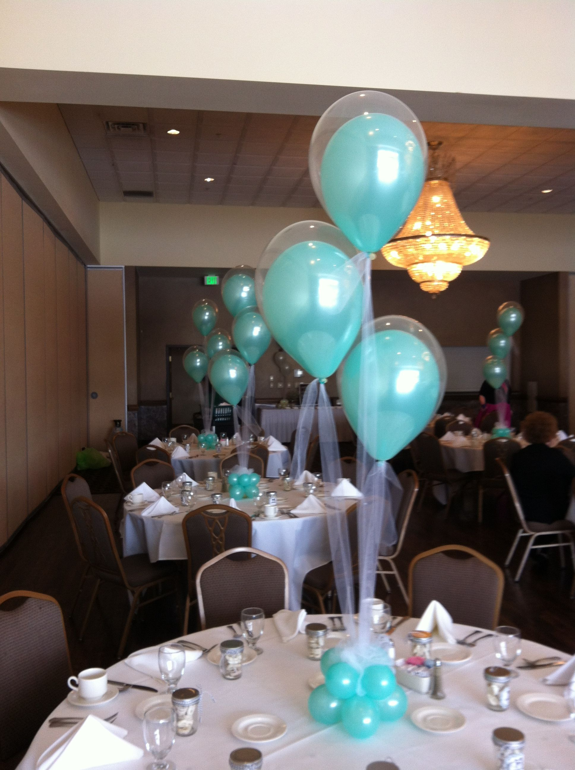 Wedding decoration ideas with balloons  Double stuffed latex on tulle for a shower Great idea for any party