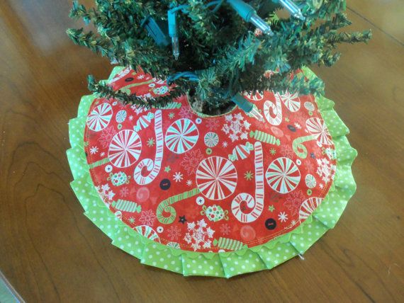 Christmas Candy Tree Skirt Small Tree Skirt Kitchen Tree Skirt Candy Canes Polka Dots Red And Lime Whimsical Christmas Trees Whimsical Christmas Candy Tree
