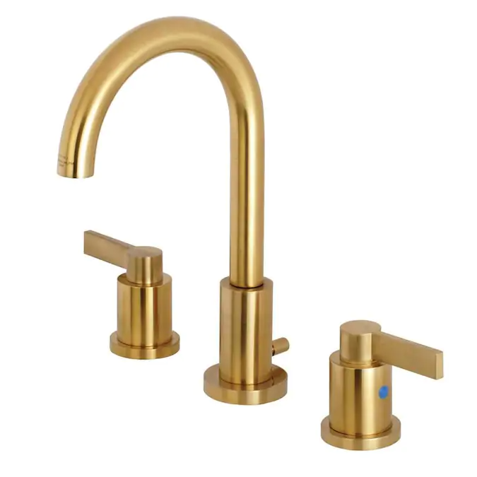 Kingston Brass Nuvofusion Brushed Brass 2 Handle Widespread Bathroom Sink Faucet With Drain Lowes Com In 2020 Brass Bathroom Faucets High Arc Bathroom Faucet Bathroom Faucets