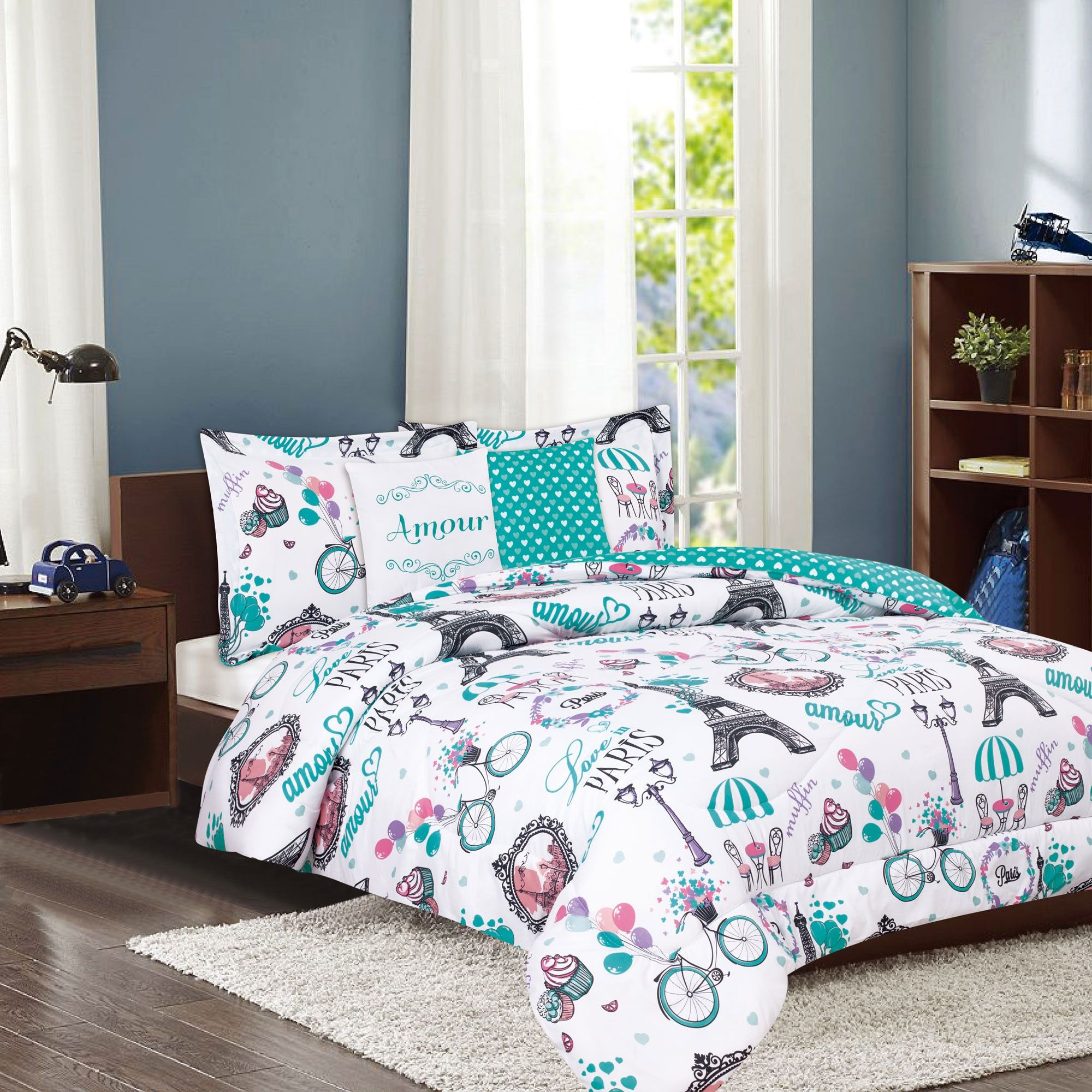 Crest Home Amour Twin Paris Comforter 4 Piece Bedding Set Teal Eiffel Tower French Cafe Discontinued No Longer Available Paris Comforter Paris Bedding Teal Bedding Sets