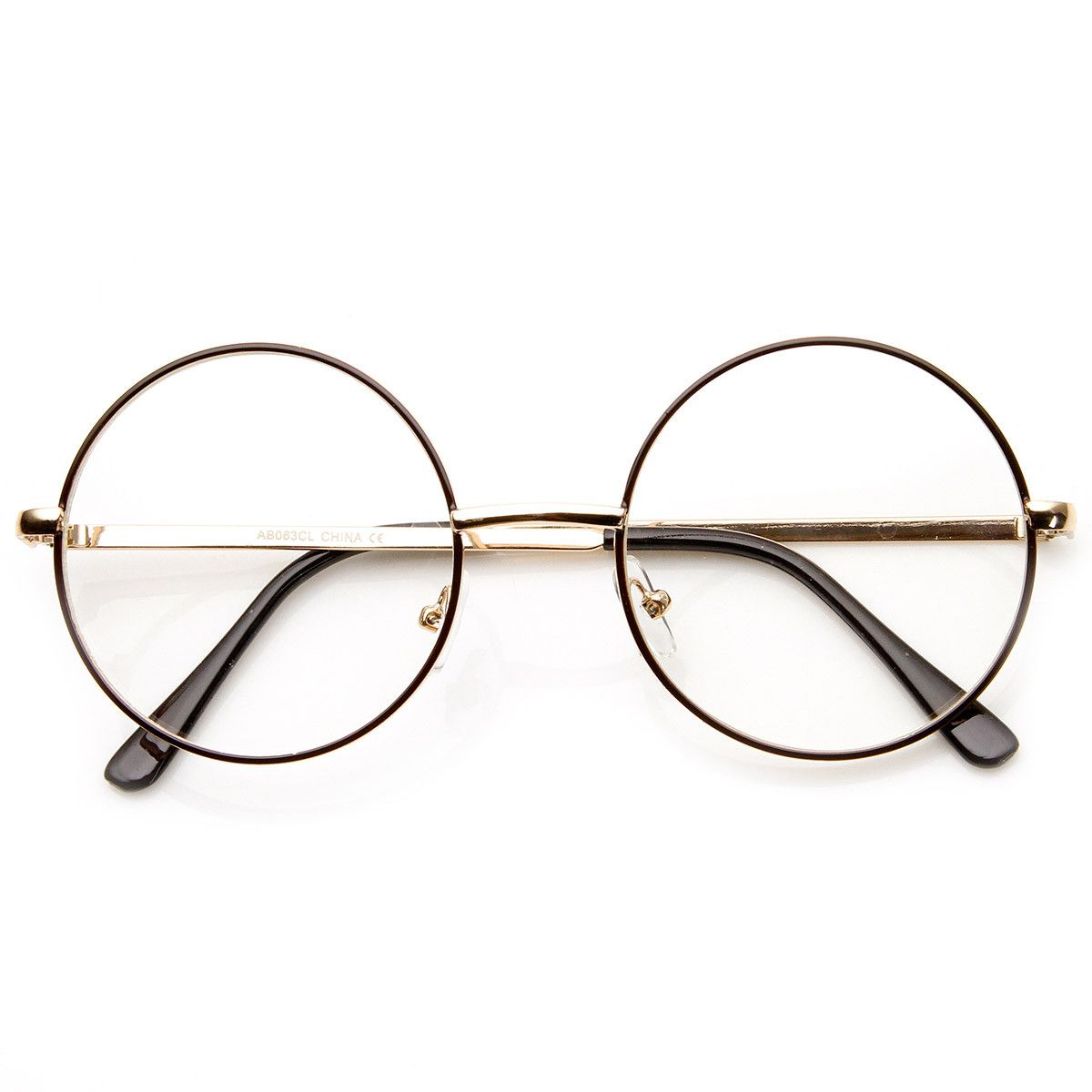 eaf23fc05c76 Mid sized round circular glasses that features a full metal frame and clear  lenses. These round glasses are perfect for someone looking for a Lennon  metal ...