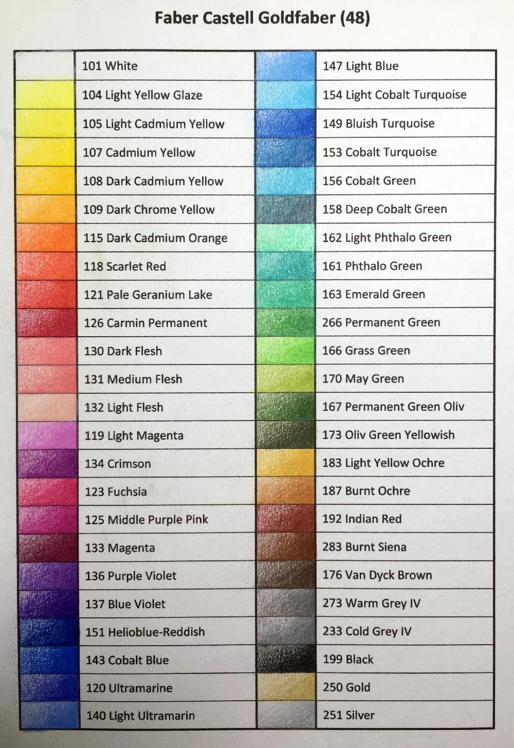 Faber Castell Goldfaber Faber Castell Faber Color Chart