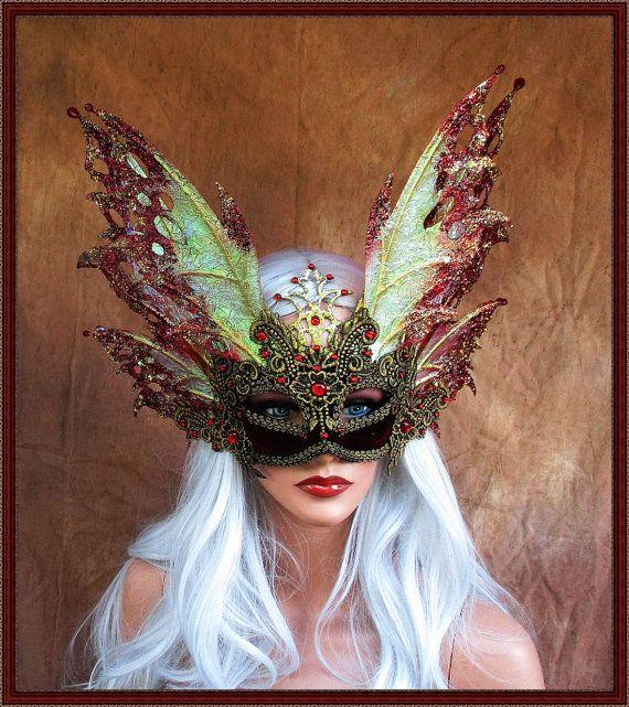 Flame Filigree Leather Mask Bird Fairy Masquerade Black White Carnival Mardi Gras Raven Party Wedding Birthday Halloween Eyemask Venetian