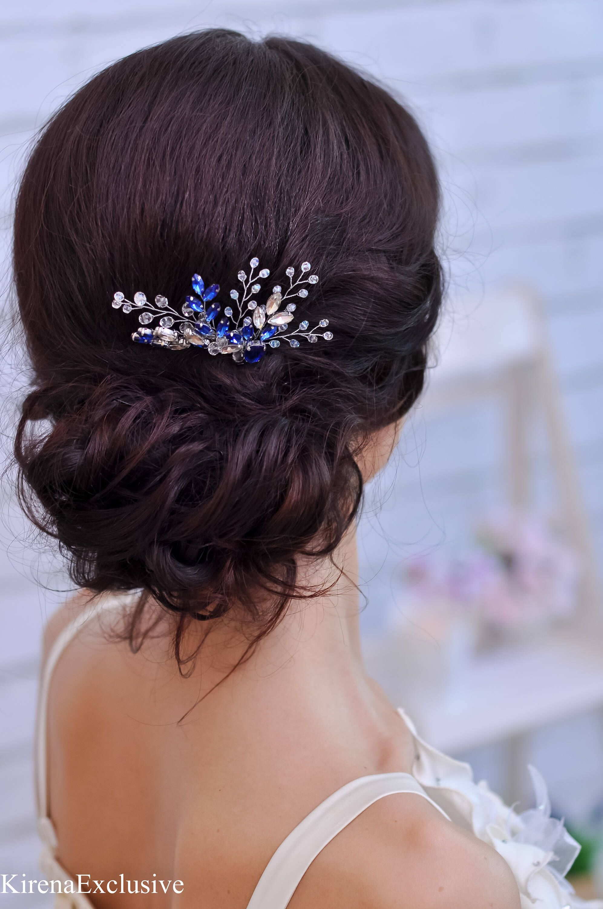 Rose Gold Wedding Hair Comb With Flower Hair Piece For Wedding