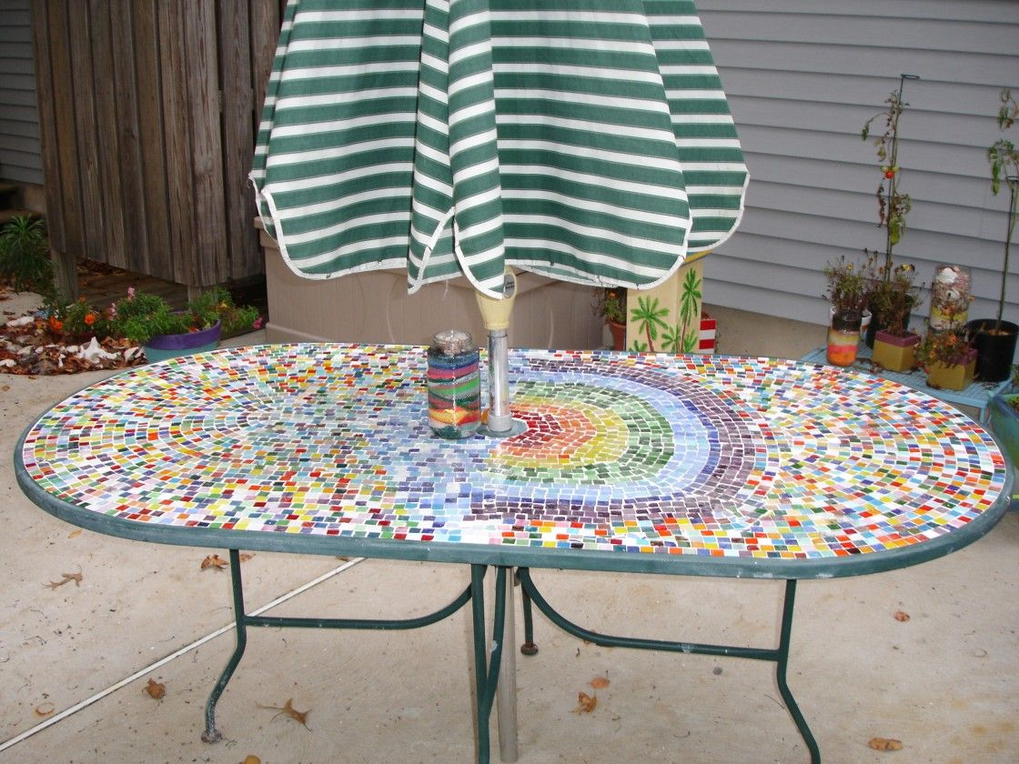 Outdoor table top ideas - Lovely Custom Oval Patio Table With Appealing Colorful Mosaic Tiles Ornament Top Metal Base And Striped