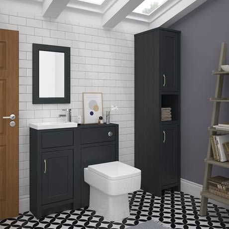 Bathroom Cabinets 400mm Wide chatsworth traditional graphite small vanity - 400mm wide