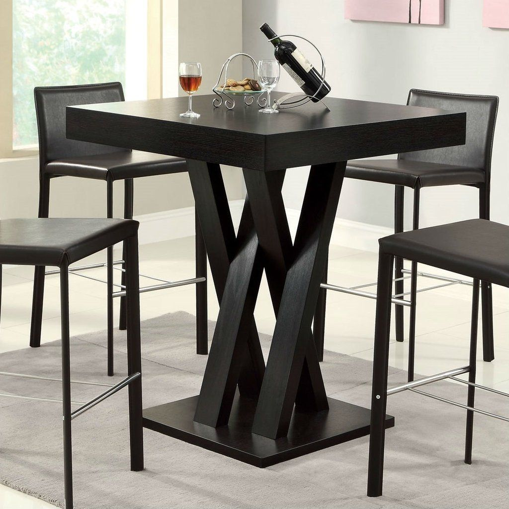 Modern 40 Inch High Square Dining Table In Dark Cappuccino Finish Bar Height Dining Table Square Dining Tables High Table