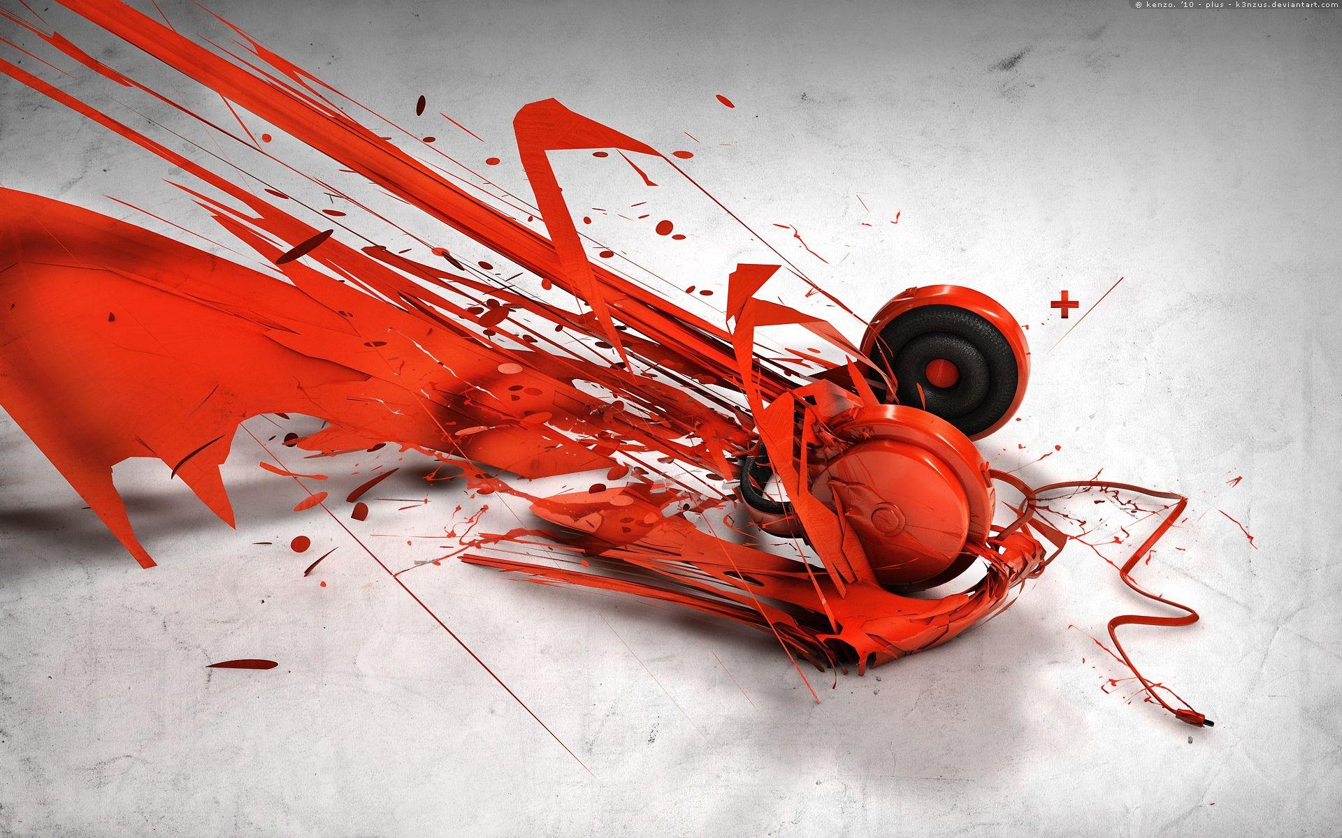 Abstract Music Headphones HD Wallpaper