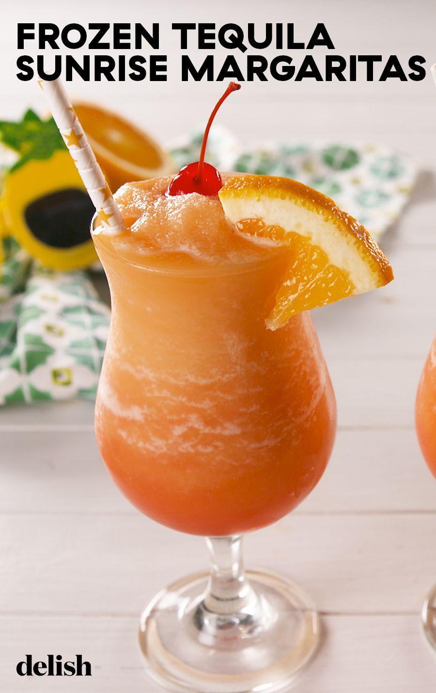 Transport Yourself To The Beach With This Frozen Tequila Sunrise Margarita