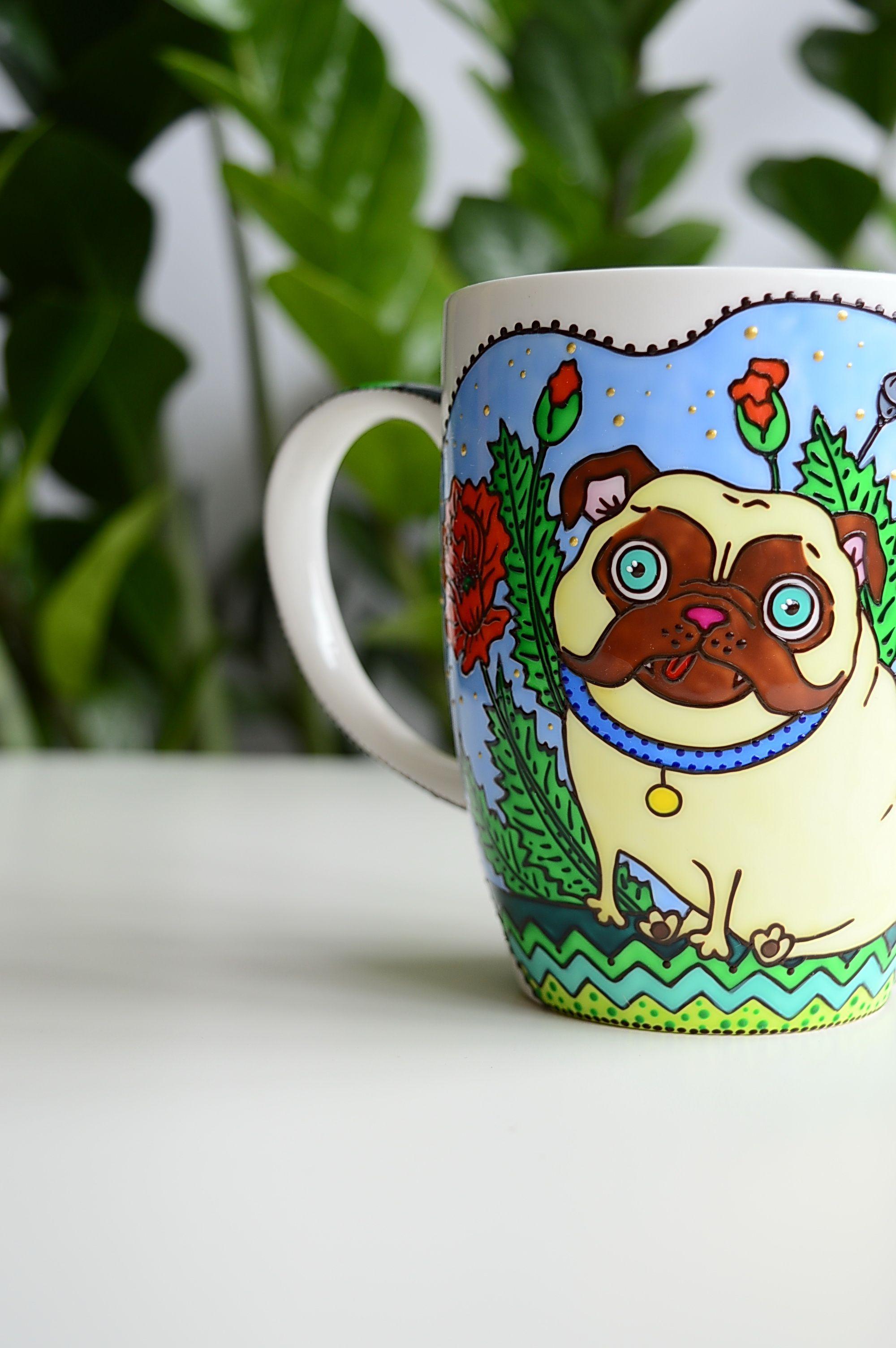 Dog Mug Pug Mug Coffee Mug Mugs, Handmade pot