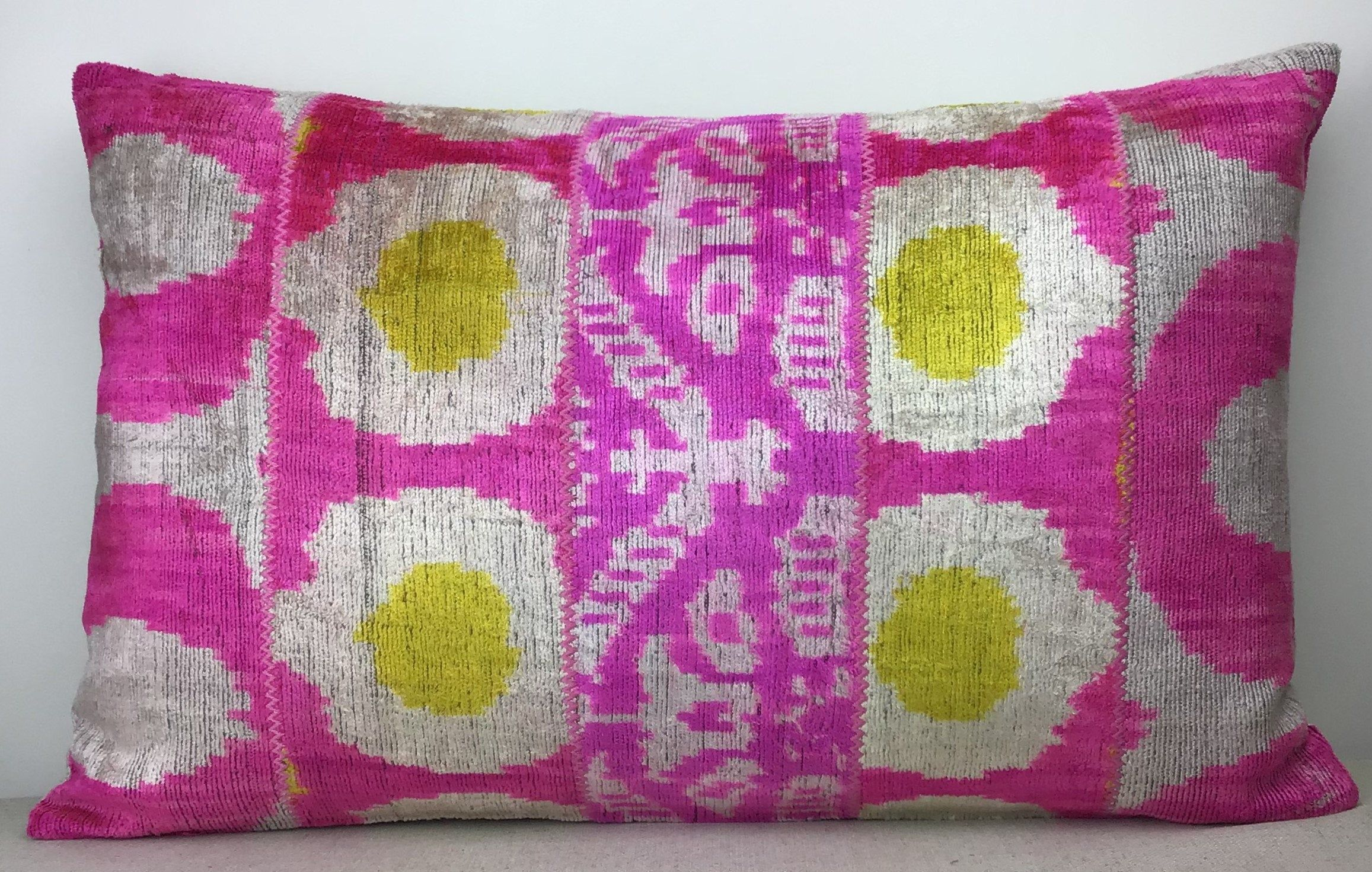 Luxury home decoration Decorative pillows 16 x 24 Silk velvet ikat pillow cover Double side ikat cushion,Handmade velvet ikat pillow