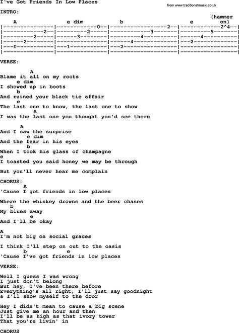 Garth Brooks Song I Ve Got Friends In Low Places Lyrics And