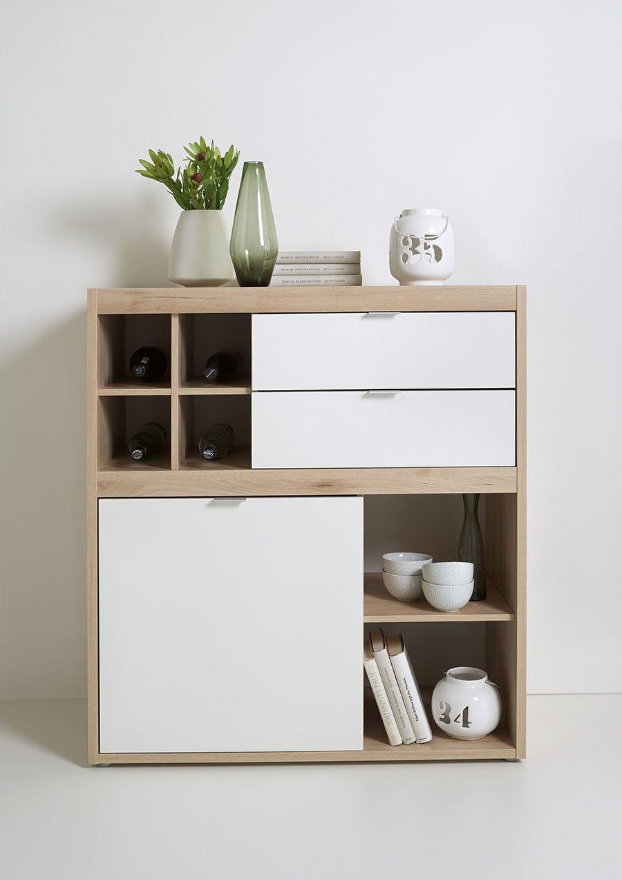 270e buffet haut style scandinave couleur bois et blanc. Black Bedroom Furniture Sets. Home Design Ideas