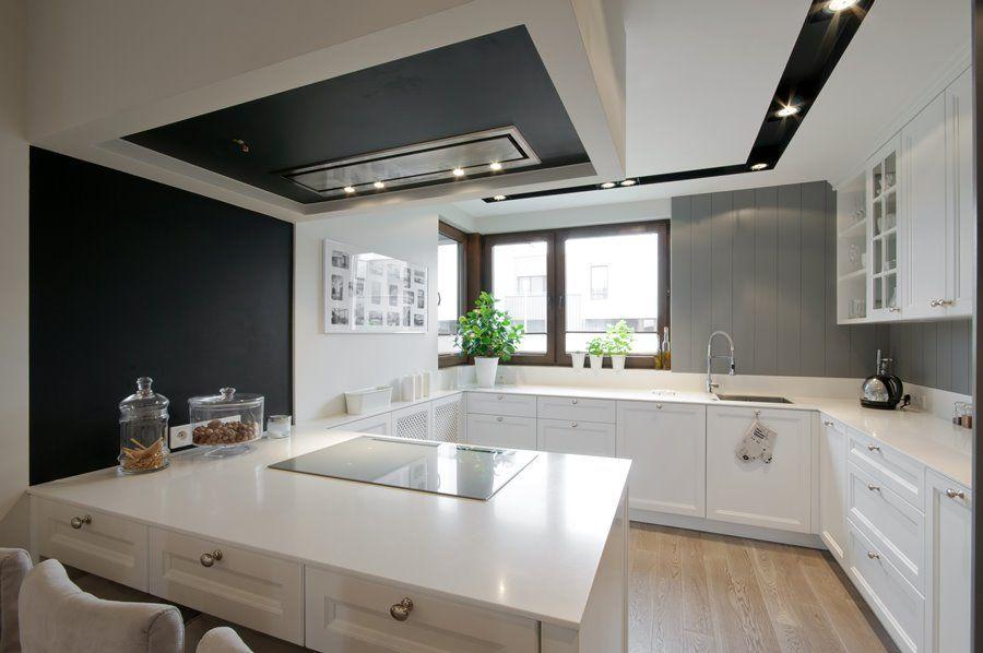Jasna kuchnia otwarta na jadalnię i salon  Kuchnie   -> Kuchnia Retro Jasna