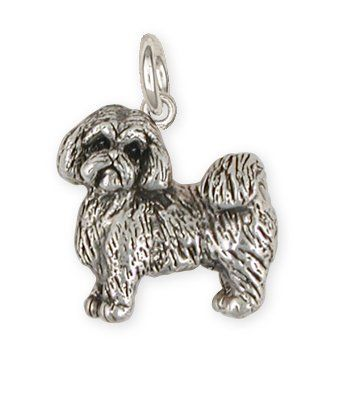 Lhasa Jewelry Sterling Silver Handmade Double  Lhasa Apso Charm  LSZ32-C