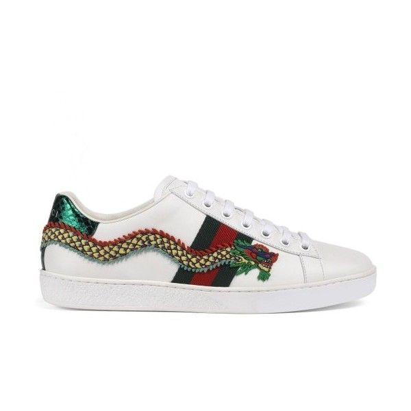 ca8df6bed6 Women's Gucci New Ace Dragon Sneaker (14,315 MXN) ❤ liked on Polyvore  featuring shoes, sneakers, white leather, white trainers, white shoes, ...