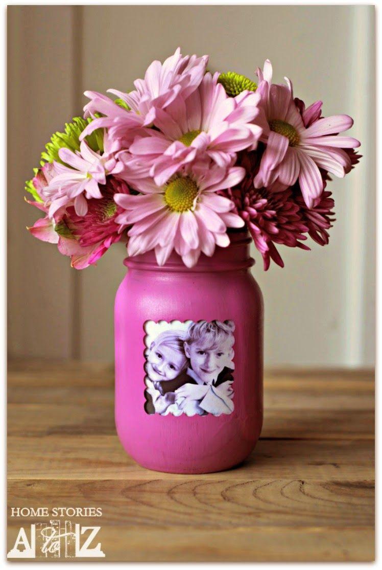 Mason photo jar personalized mothers day gift idea diy
