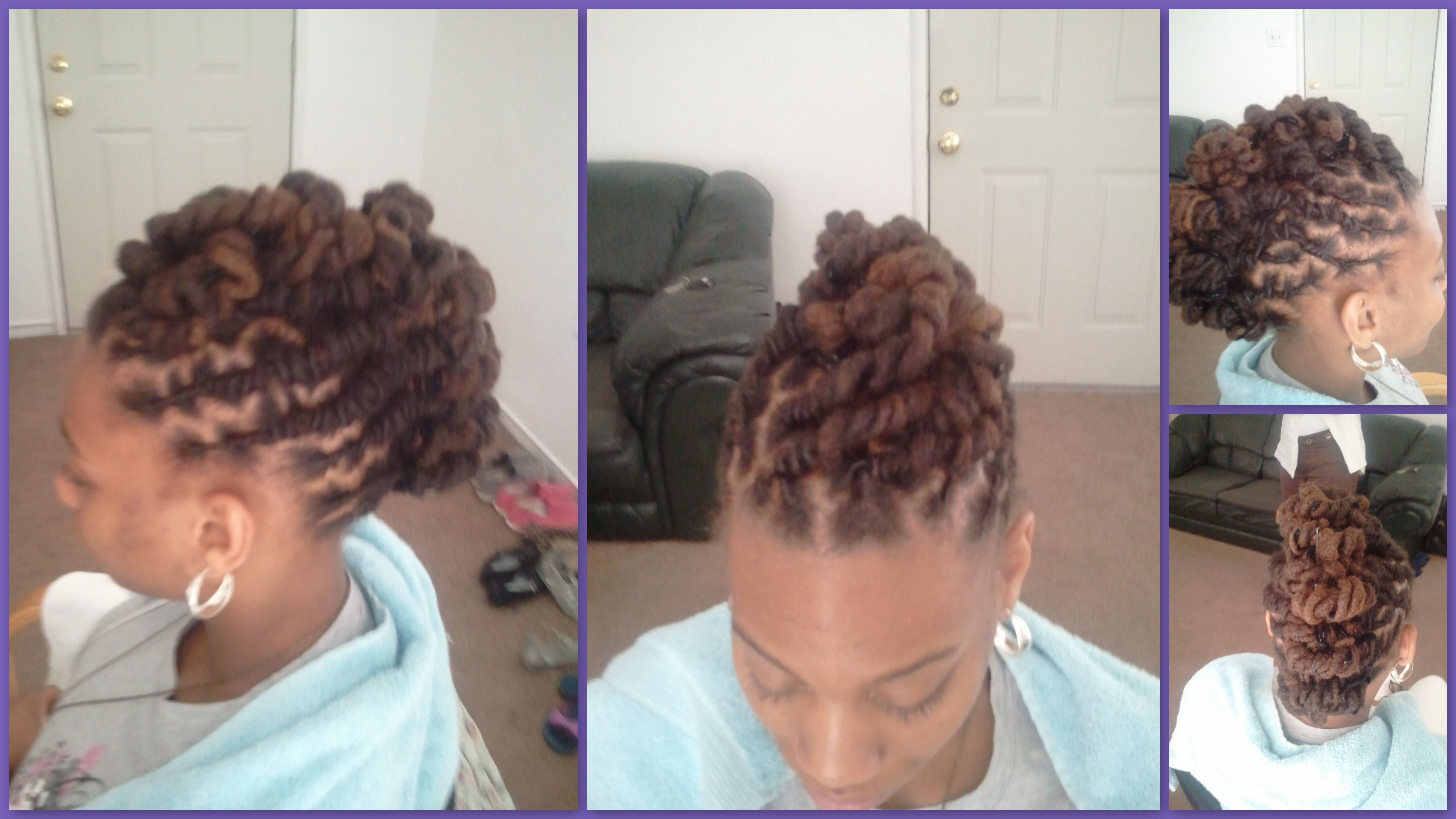 Twotone locs mohawk blonde brown hair mainly curly