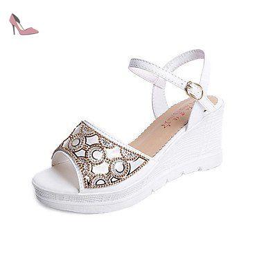 RUGAI-UE Mode d'été occasionnels Chaussures Femmes Sandales talons PU confort,or,US9/EU40/UK7/CN41