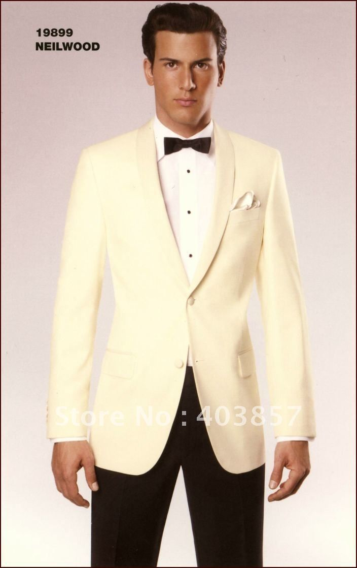 Ivory Tuxedo Jacket Black Pants Suit Custom Wedding