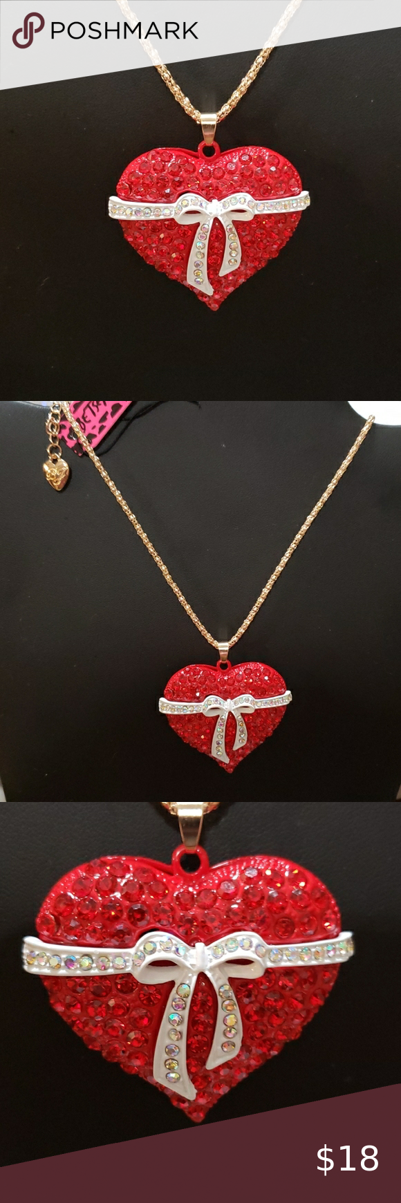 Nwt Red Crystal Heart Necklace By Betsey Johnson In 2020 Crystal Heart Necklace Betsey Johnson Jewelry Crystal Heart