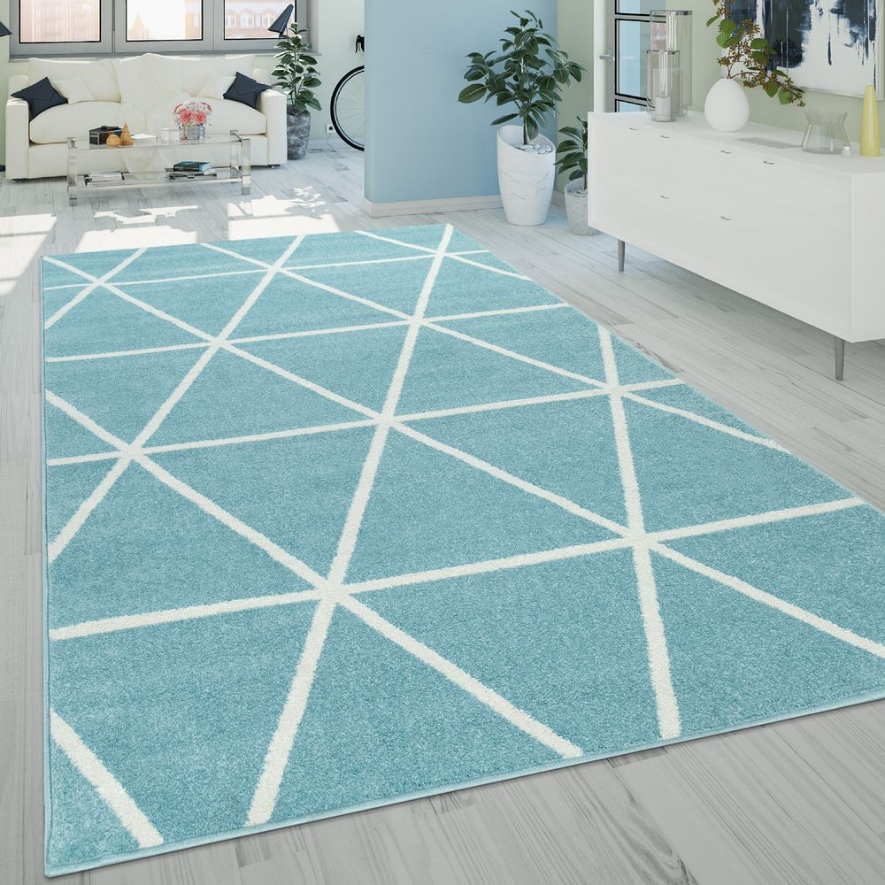 Kurzflor Teppich Skandi Muster Blau Weiss Kurzflor Teppiche Teppich Shaggy Teppich