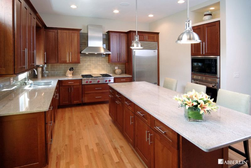 Cherry kitchen cabinets with gray wall and quartz for Cherry and white kitchen cabinets