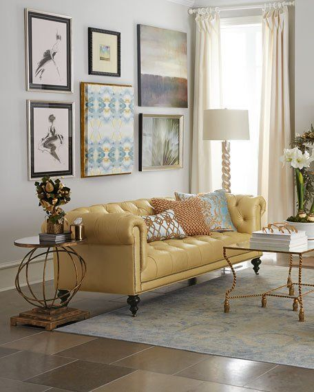 Old Hickory Tannery Morgan Sunshine Chesterfield Leather Sofa 86 Yellow Leather Sofas Luxury Furniture Living Room Leather Sofa