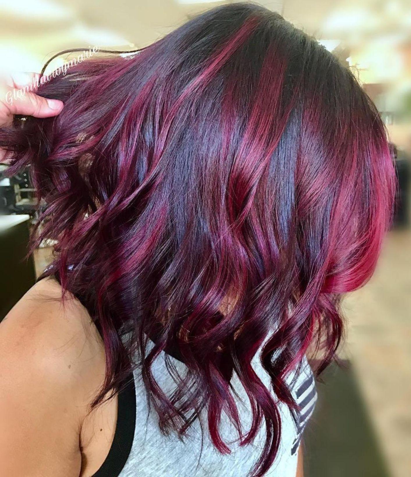 Black Lob With Bright Burgundy Highlights Haircolorred Magenta Hair Hair Highlights Hair Color Burgundy