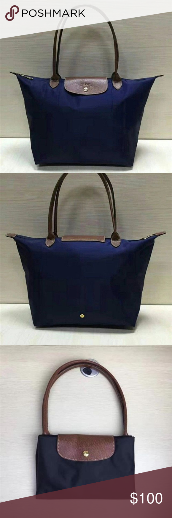 Longchamp Le Pliage Navy Blue Large New Tote Bag Brand Nylon Trims Leather Double Shoulder Straps Top Zip Closure