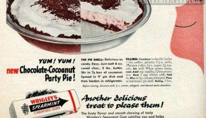 Chocolate-coconut party pie recipe (1955)