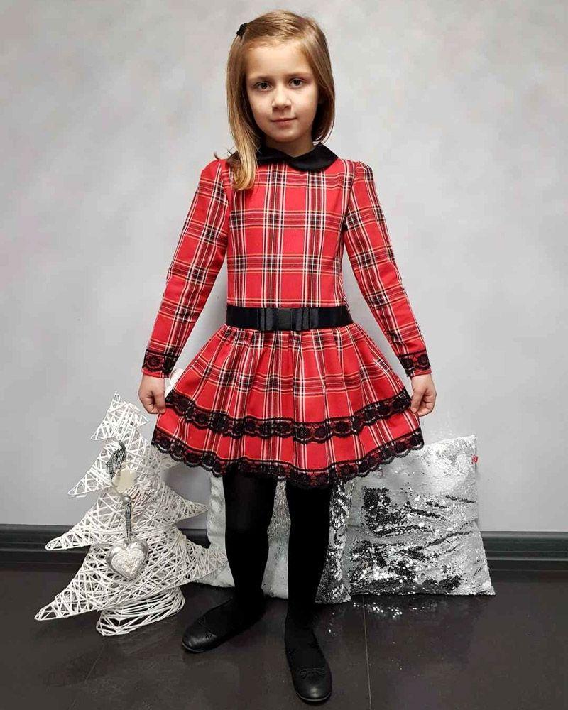 f5a89561fd Sukienka w kratkę z kołnierzykiem 92-140 Dagmara 2 czerwono-czarna ...