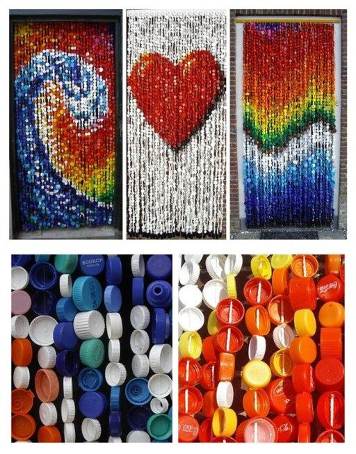 Wonderful diy fly curtain made of plastic bottle caps for Crafts to do with bottle caps