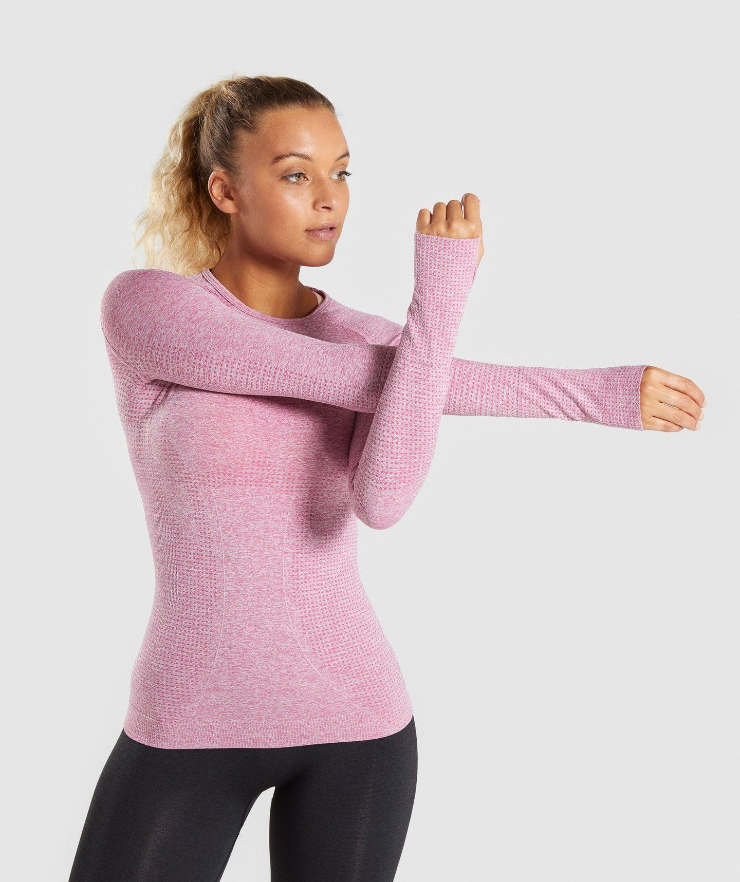 ae967c94 Full Length Dusty Pink Marl Vital Seamless Long Sleeve T-Shirt Front  Stretch 4