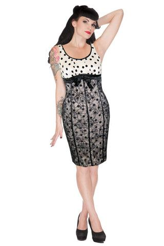 Voodoo Vixen FLORAL Polka Dot  VINTAGE Pencil Dress KLEID Rockabilly