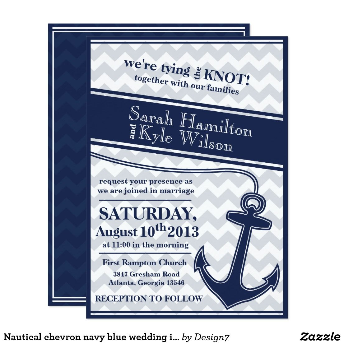 Nautical Chevron Navy Blue Wedding Invitation Wedding Nautical